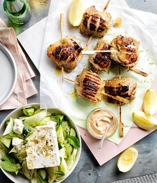 Lemon-oregano chicken with tomato yoghurt and village salad