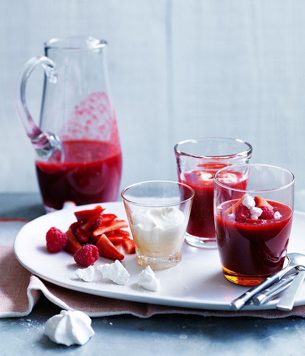 **Chilled Berry Rosewater Soup with Vanilla Crème Fraiche**