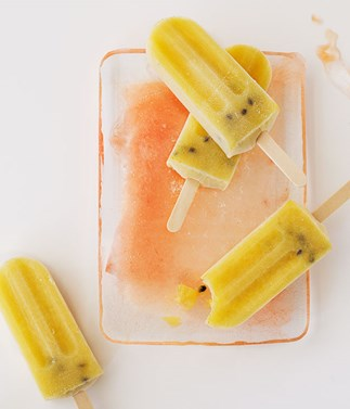 Passionfruit, pineapple and vanilla icy poles