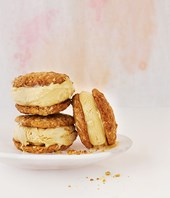 Anzac and golden syrup ice-cream sandwiches