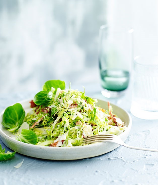 "[**Brussels sprout salad with bacon, apple and buttermilk dressing**](https://www.gourmettraveller.com.au/recipes/fast-recipes/brussels-sprout-salad-with-bacon-apple-and-buttermilk-dressing-13472|target=""_blank"")"