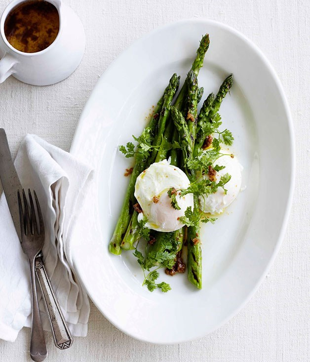 "[**Asparagus with egg and garlic and anchovy butter**](https://www.gourmettraveller.com.au/recipes/fast-recipes/asparagus-with-egg-and-garlic-and-anchovy-butter-13086|target=""_blank"")"