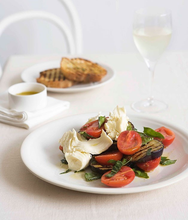 "[**Eggplant and mozzarella salad with rosemary bruschetta**](https://www.gourmettraveller.com.au/recipes/fast-recipes/eggplant-and-mozzarella-salad-with-rosemary-bruschetta-12994|target=""_blank"")"