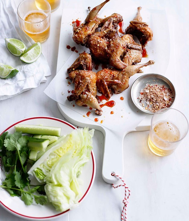 "[**Fried quail with cucumber and lettuce wedges**](https://www.gourmettraveller.com.au/recipes/fast-recipes/fried-quail-with-cucumber-and-lettuce-wedges-13068|target=""_blank"")"