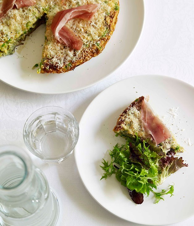 "[**Jamón, pea and Manchego omelette**](https://www.gourmettraveller.com.au/recipes/fast-recipes/jamon-pea-and-manchego-omelette-13012|target=""_blank"")"
