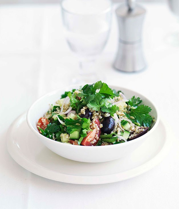 "[**Freekah and herb salad with preserved lemon and black olives**](https://www.gourmettraveller.com.au/recipes/fast-recipes/freekah-and-herb-salad-with-preserved-lemon-and-black-olives-13074|target=""_blank"")"