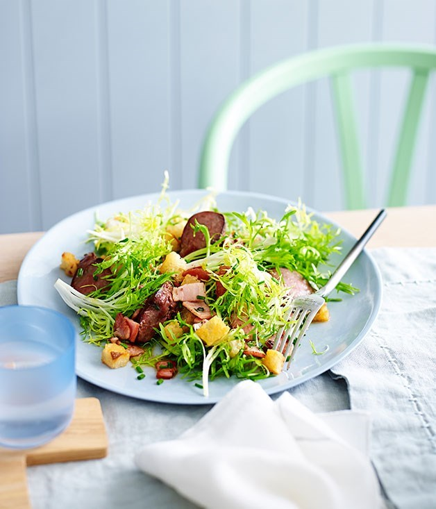 "**[Duck liver salad with bacon and Sherry](https://www.gourmettraveller.com.au/recipes/fast-recipes/duck-liver-salad-with-bacon-and-sherry-13532|target=""_blank"")**"