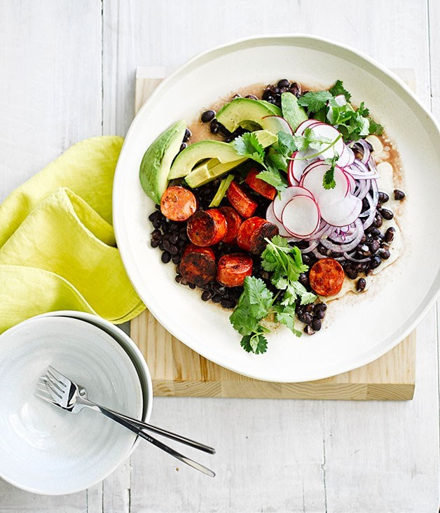 **Grilled chorizo with black bean and avocado salad**