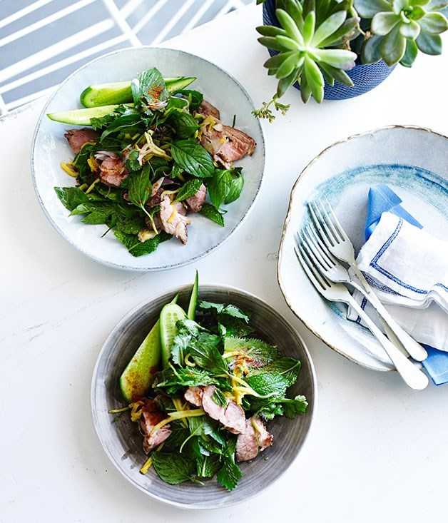 "**[Thai grilled pork salad with green mango](https://www.gourmettraveller.com.au/recipes/fast-recipes/thai-grilled-pork-salad-with-green-mango-13436|target=""_blank"")**"