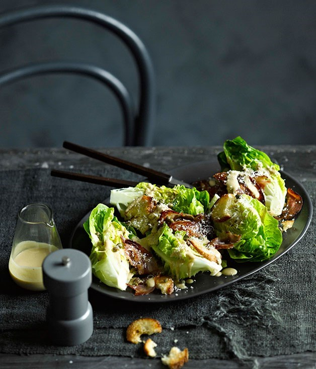 "**[Cos and parmesan salad with warm anchovy dressing](https://www.gourmettraveller.com.au/recipes/fast-recipes/cos-and-parmesan-salad-with-warm-anchovy-dressing-13365|target=""_blank"")**"
