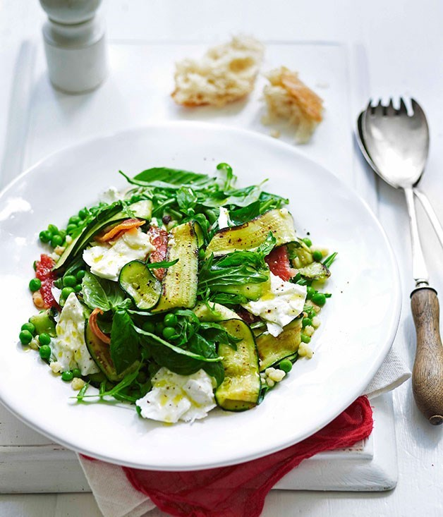 "**[Zucchini, guanciale, mozzarella and fregola salad](https://www.gourmettraveller.com.au/recipes/fast-recipes/zucchini-guanciale-mozzarella-and-fregola-salad-13346|target=""_blank"")**"