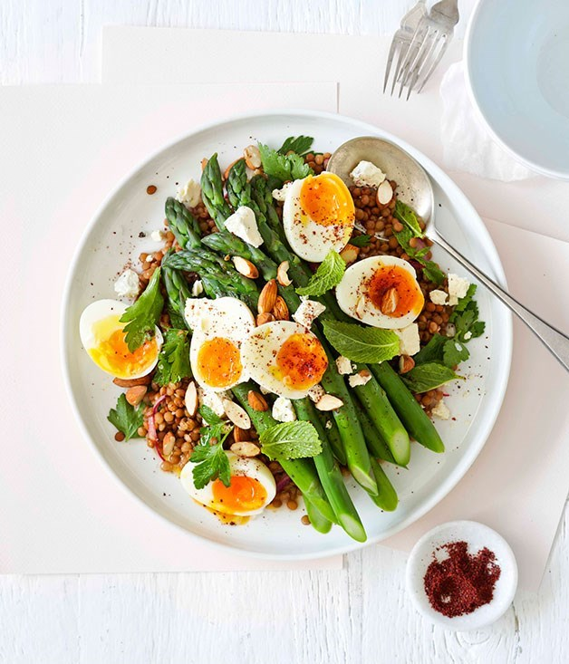"**[Lentil and asparagus salad with egg and sumac](https://www.gourmettraveller.com.au/recipes/fast-recipes/lentil-and-asparagus-salad-with-egg-and-sumac-13343|target=""_blank"")**"