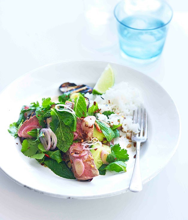 **Grilled beef and eggplant salad**