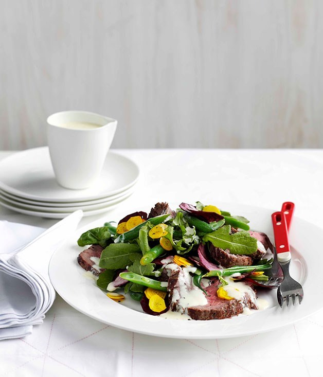 "**[Roast beef, beetroot and wasabi green salad with buttermilk dressing](https://www.gourmettraveller.com.au/recipes/fast-recipes/roast-beef-beetroot-and-wasabi-green-salad-with-buttermilk-dressing-13201|target=""_blank"")**"