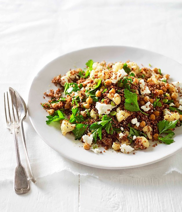 "**[Warm roast cauliflower, chickpea and quinoa salad](https://www.gourmettraveller.com.au/recipes/fast-recipes/warm-roast-cauliflower-chickpea-and-quinoa-salad-13204|target=""_blank"")**"
