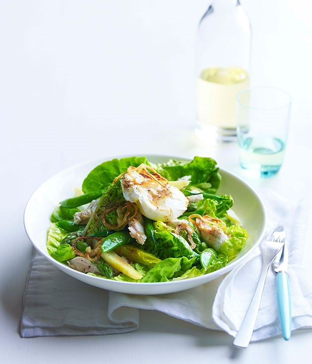 **Chicken, cos and soft egg salad with anchovy and crisp onion**