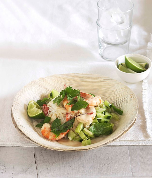 **Poached prawns with rice noodles, cucumber and Thai herbs**