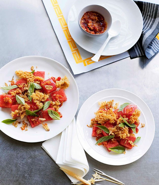 """[**Watermelon with crisp fish**](https://www.gourmettraveller.com.au/recipes/browse-all/watermelon-with-crisp-fish-10868
