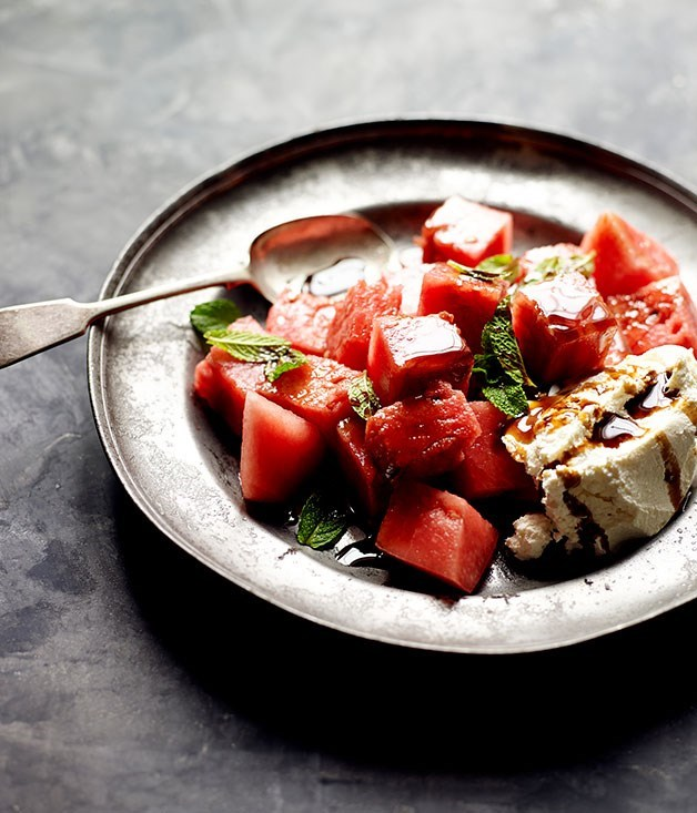"""[**Watermelon with rosewater, labne, mint and pomegranate molasses**](https://www.gourmettraveller.com.au/recipes/chefs-recipes/watermelon-with-rosewater-labne-mint-and-pomegranate-molasses-8003
