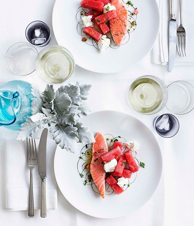 """[**Confit salmon with watermelon, labne and sauce vierge**](https://www.gourmettraveller.com.au/recipes/chefs-recipes/confit-salmon-with-watermelon-labne-and-sauce-vierge-7800