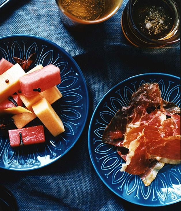 "[**Pickled melon with serrano ham**](https://www.gourmettraveller.com.au/recipes/chefs-recipes/pickled-melon-with-serrano-ham-7295 target=""_blank"")"