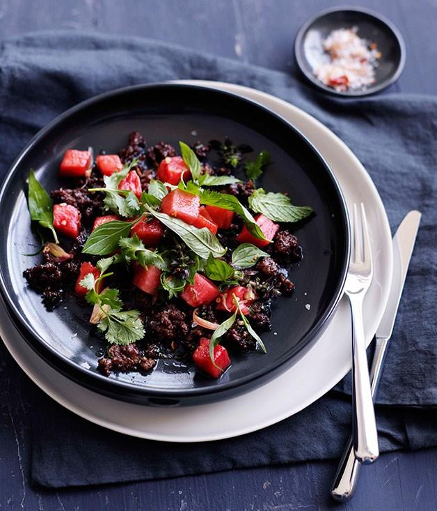 "[**Sticky pork, watermelon pickle and herb salad**](https://www.gourmettraveller.com.au/recipes/browse-all/sticky-pork-watermelon-pickle-and-herb-salad-10592|target=""_blank"")"