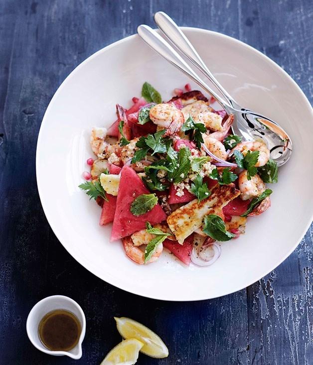 "[**Prawn, haloumi and watermelon salad**](https://www.gourmettraveller.com.au/recipes/browse-all/prawn-haloumi-and-watermelon-salad-10591|target=""_blank"")"