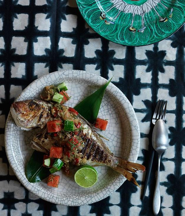 """[**Grilled fish with sambal matah, watermelon and cucumber**](https://www.gourmettraveller.com.au/recipes/chefs-recipes/grilled-fish-with-sambal-matah-watermelon-and-cucumber-8162 target=""""_blank"""")"""