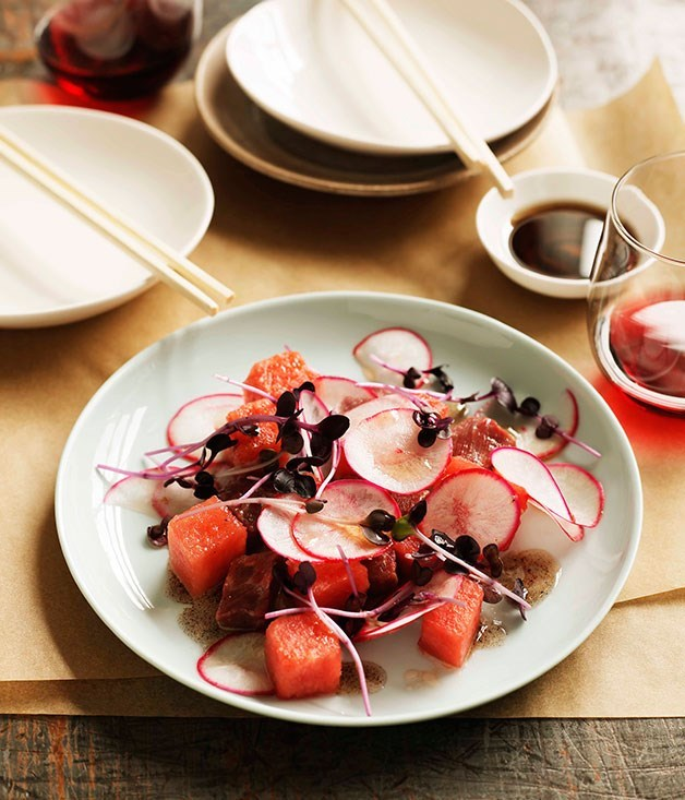 """**Flat-iron steak wit[link text](https://www.gourmettraveller.com.au/recipes/chefs-recipes/flat-iron-steak-with-watermelon-and-red-cabbage-7664