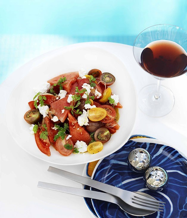 """[**Watermelon, tomato and goat's cheese salad**](https://www.gourmettraveller.com.au/recipes/browse-all/watermelon-tomato-and-goats-cheese-salad-9981
