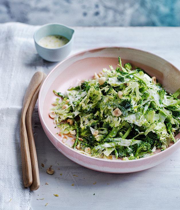 "**[Broccoli and spring onion slaw with buttermilk dressing](https://www.gourmettraveller.com.au/recipes/browse-all/broccoli-and-spring-onion-slaw-with-buttermilk-dressing-12174|target=""_blank""|rel=""nofollow"")**"
