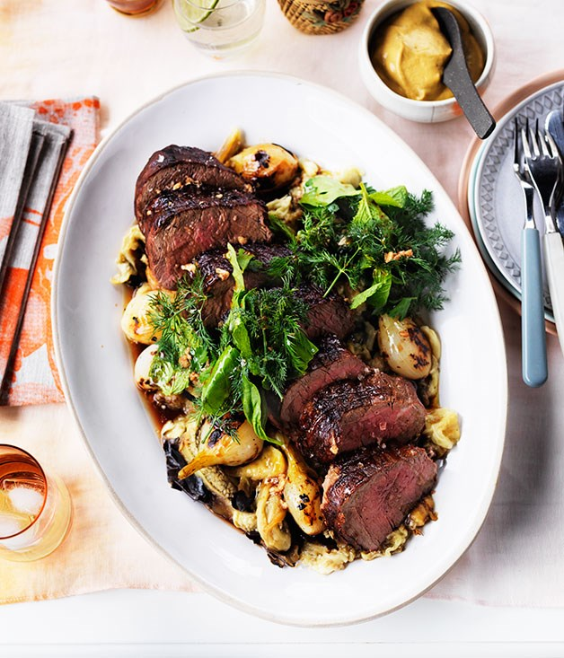 Barbecued tenderloin with charred onion and eggplant