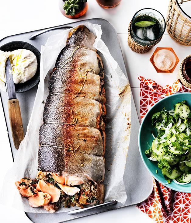 """**[Barbecued ocean trout with cucumber and labne](https://www.gourmettraveller.com.au/recipes/browse-all/barbecued-ocean-trout-with-cucumber-and-labne-12148