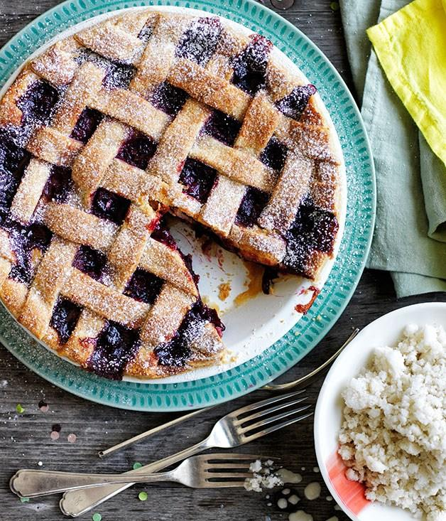 "[**Cherry lattice pie with almond-milk ice**](https://www.gourmettraveller.com.au/recipes/browse-all/cherry-lattice-pie-with-almond-milk-ice-11825|target=""_blank"")"