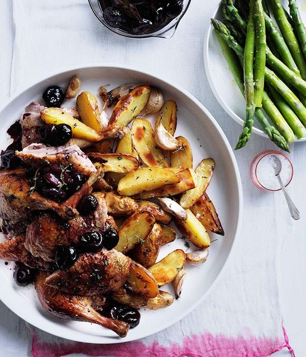 "[**Roast duck with cherries and roast kipfler potatoes**](https://www.gourmettraveller.com.au/recipes/browse-all/roast-duck-with-cherries-and-roast-kipfler-potatoes-10611|target=""_blank"")"