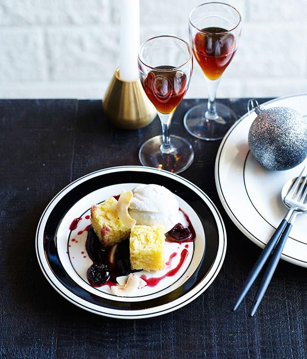 "[**Coconut, spiced cherries and dark chocolate**](https://www.gourmettraveller.com.au/recipes/chefs-recipes/coconut-spiced-cherries-and-dark-chocolate-9200|target=""_blank"")"