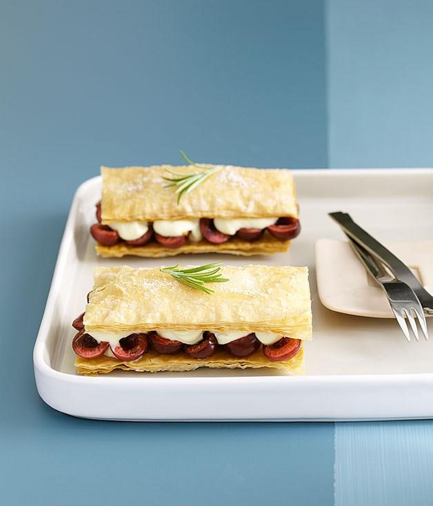 "[**Cherry napoleons with rosemary-scented crème fraîche**](https://www.gourmettraveller.com.au/recipes/fast-recipes/cherry-napoleons-with-rosemary-scented-creme-fraiche-9390|target=""_blank"")"