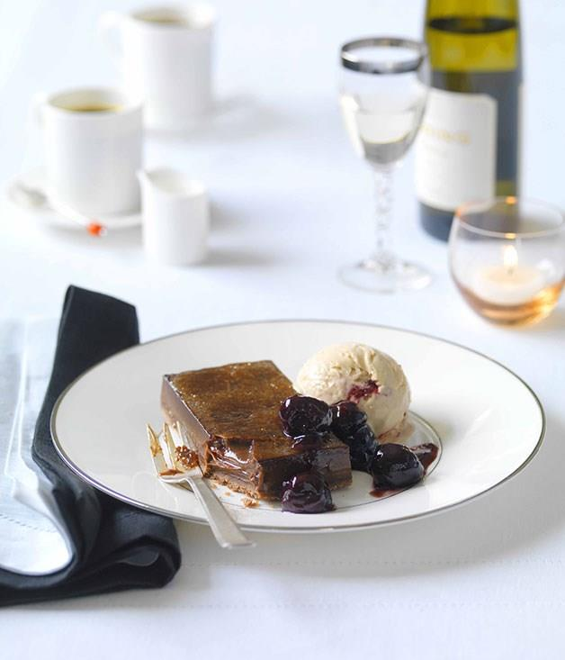 "[**Chocolate brûlée tart with cherry parfait**](https://www.gourmettraveller.com.au/recipes/chefs-recipes/chocolate-brulee-tart-with-cherry-parfait-7158|target=""_blank"")"