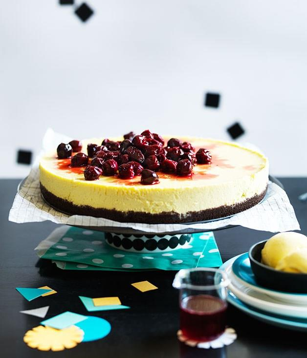 "[**Cherry cheesecake with cherry-pit ice-cream**](https://www.gourmettraveller.com.au/recipes/browse-all/cherry-cheesecake-with-cherry-pit-ice-cream-12108|target=""_blank"")"