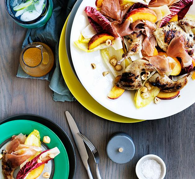 Char-grilled quail with prosciutto and peaches