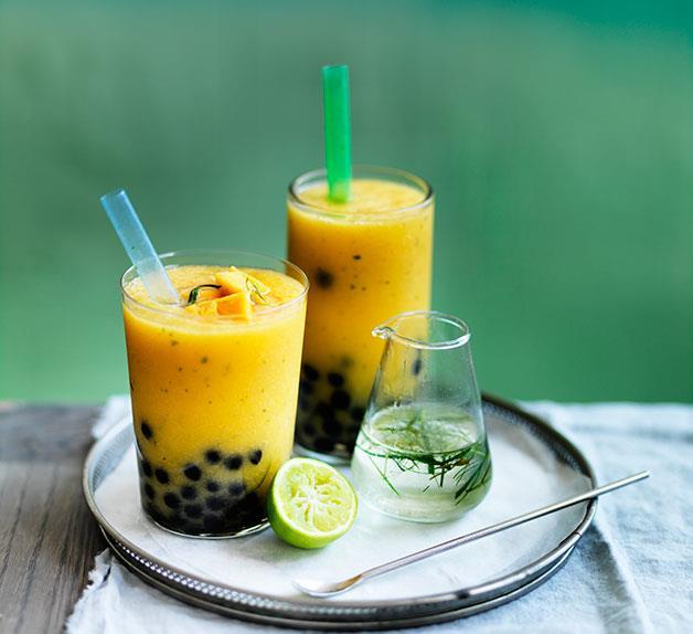 Mango and kaffir lime bubble tea