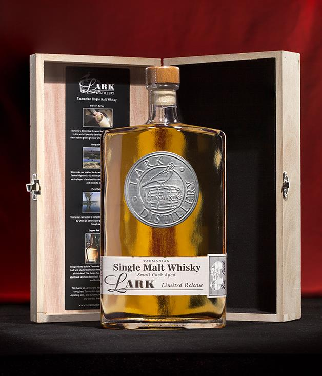 "**Lark Limited-Release Single-Malt Whisky** For something with even more spice, [Tasmania's Lark Distillery](http://www.larkdistillery.com.au ""Lark Distillery"") has produced just 60 bottles of this special-release single-malt whisky, aged for five years and finished in French oak Sherry casks. The drop comes packaged in a wooden gift box and is only available by calling the cellar door direct. Nightcap sorted. _$297 for 500ml. For all orders call (03) 6231 9088._"