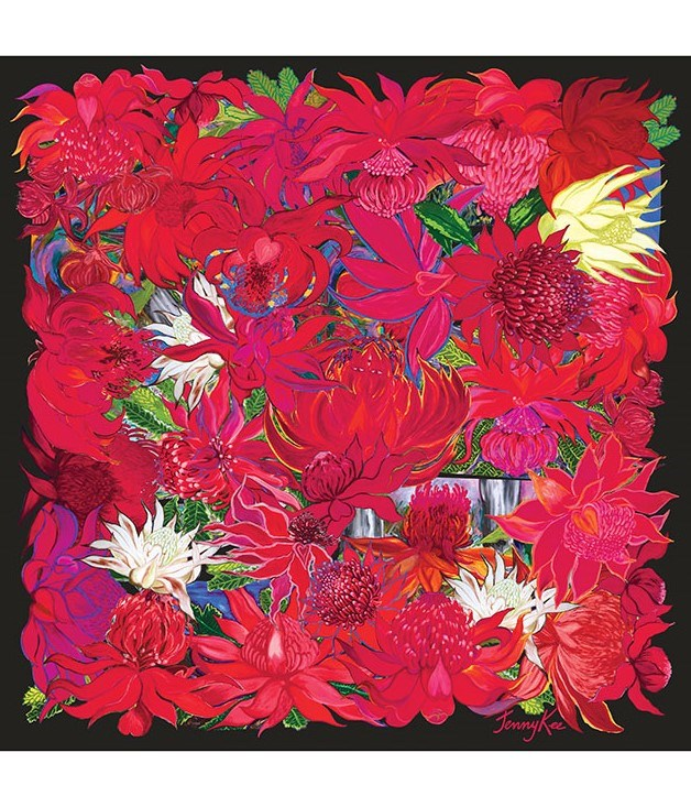 "**Jenny Kee Waratah scarf** This individually printed, crêpe de chine scarf from Australian design goddess [Jenny Kee](http://www.jennykee.com/ ""Jenny Kee"") provides just the right measure of Valentine's spirit with its vibrant red hues. The red waratah is a symbol for passion, too. $165"