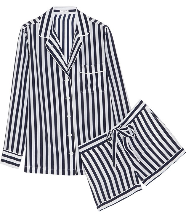 "**Lilian silk pyjamas by Equipment** Why not try these washed-silk [Lilian pyjamas](http://www.net-a-porter.com/product/519882/Equipment/lilian-striped-washed-silk-pajama-set ""Net-A-Porter"") from French favourite Equipment? We love them for their classic navy and white stripes, and we think your Valentine will, too. _$678.24_"