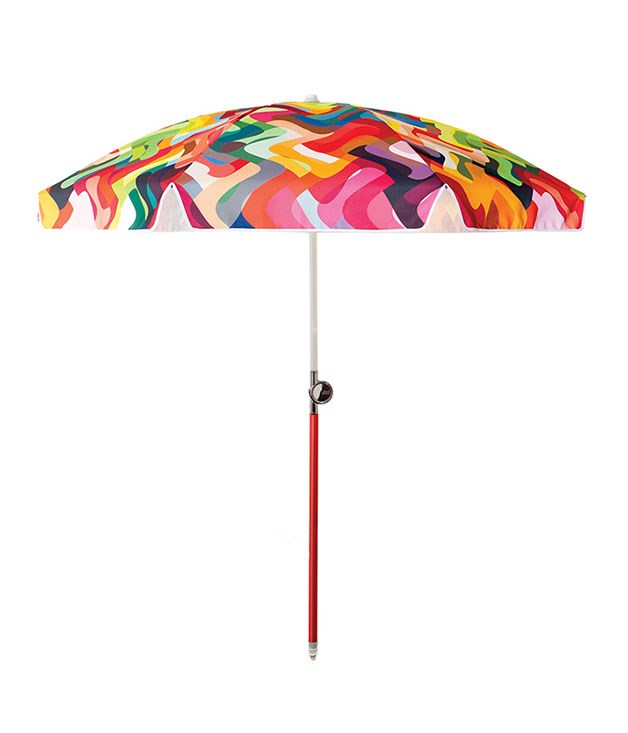 "**Basil Bangs Wonderland sun umbrella** Hold onto the sun, sand and backyard barbecue vibe a little bit longer with the help of this striking Wonderland umbrella from [Basil Bangs](http://madebytait.com.au/allproducts/accessories/basil-bangs-sun-umbrella/ ""Made by Tait""). _$249_"