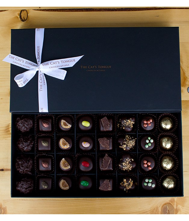 "**The Cat's Tongue Chocolatiers gift box** Step away from the After Eights. Chocolatier Andy Abramowich from Hobart's [The Cat's Tongue](http://www.thecatstongue.com.au/ ""The Cat's Tongue"") has your post-dinner chocolate treat sorted with this perfectly wrapped box of handcrafted pralines. _$85 for 32 pieces; 0428 411 455_"