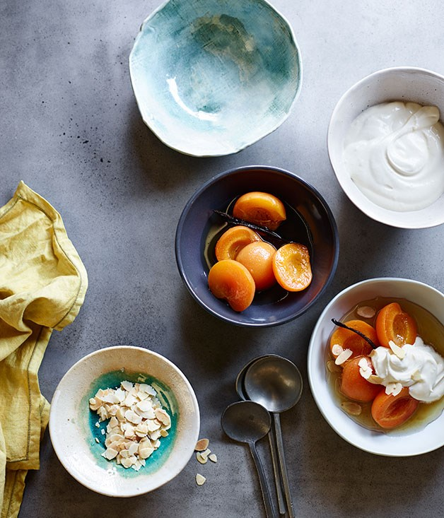 **Apricots poached in orange muscat with mascarpone and almonds**