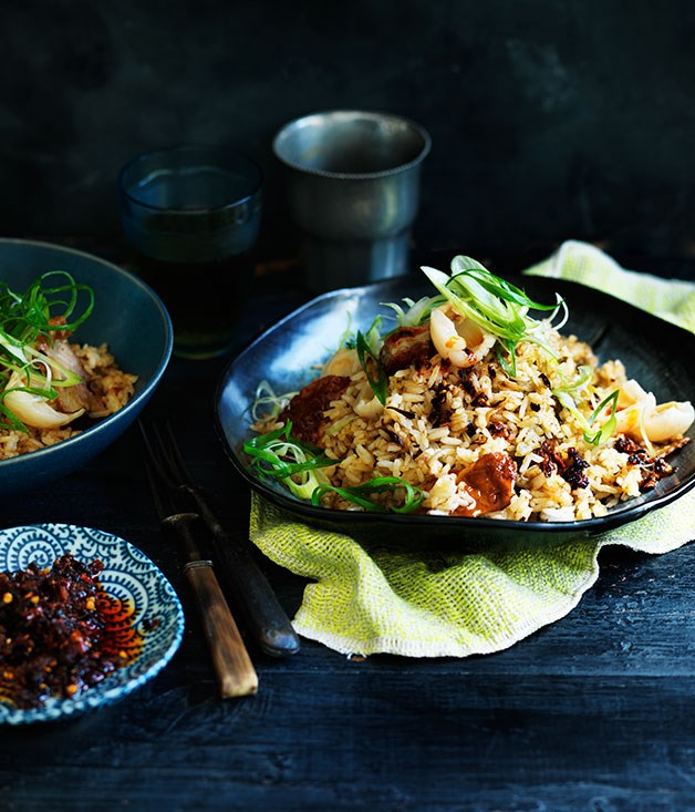 **Chilli fried rice with Chinese roast duck and lychees**