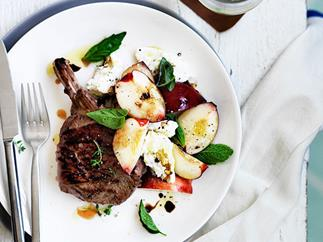 Grilled veal cutlets with peach, mozzarella and basil