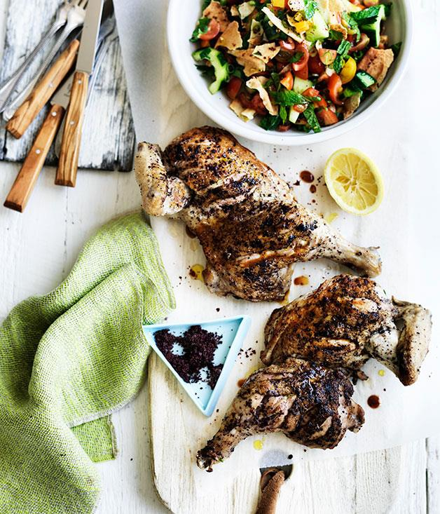 "**[Sumac-crusted chicken with fattoush](http://www.gourmettraveller.com.au/recipes/fast-recipes/thyme-and-garlic-roast-chicken-with-brussels-sprouts-slaw-13624|target=""_blank"")**"